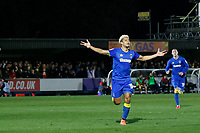 GOAL - Lyle Taylor of AFC Wimbledon opens the scoring during the Sky Bet League 1 match between AFC Wimbledon and Charlton Athletic at the Cherry Red Records Stadium, Kingston, England on 10 April 2018. Photo by Carlton Myrie / PRiME Media Images.