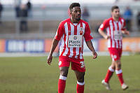 New loan signing Tariqe Fosu of Accrington Stanley during the Sky Bet League 2 match between Newport County and Accrington Stanley at Rodney Parade, Newport, Wales on 28 March 2016. Photo by Mark  Hawkins.