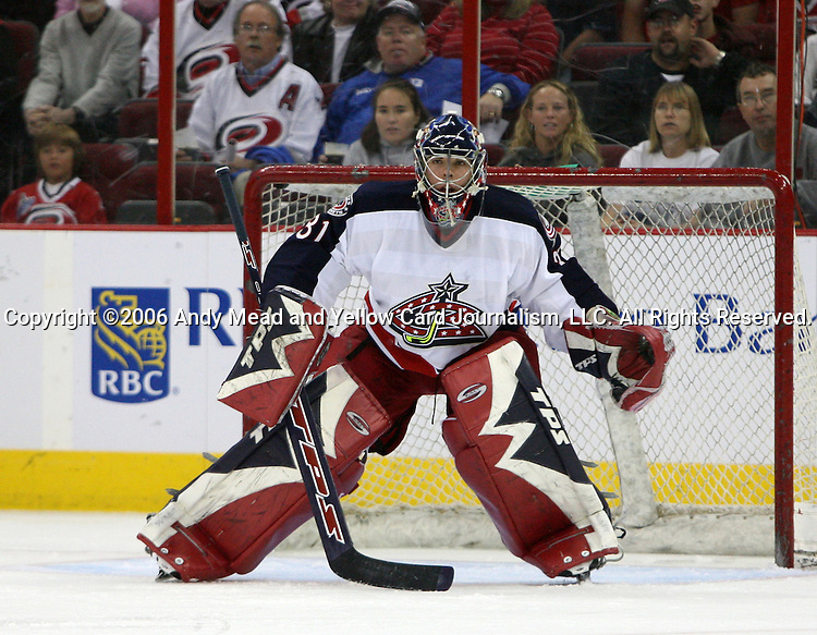 29 September 2006: Columbus' Pascal Leclaire. The Carolina Hurricanes lost 4-1 to the Columbus Blue Jackets at the RBC Center in Raleigh, North Carolina in a 2006-07 National Hockey League preseason game.