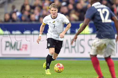 13.11.2015. Stade de France, Paris, France. International football friendly. France versus Germany.  Bastian Schweinsteiger . The game was parially interupted as the paris terror attacks took place and bombs were heard going off outside the stadium.