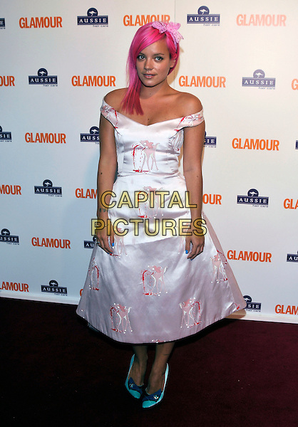 LILY ALLEN.Inside Arrivals at the Glamour Women of the Year Awards 2008 held at Berkeley Square Gardens, London, England,.3rd June 2008.full length dyed pink hair white print dress blue shoes off the shoulder bow hairband blue nail varnish polish satin silk.CAP/PL.©Phil Loftus/Capital Pictures