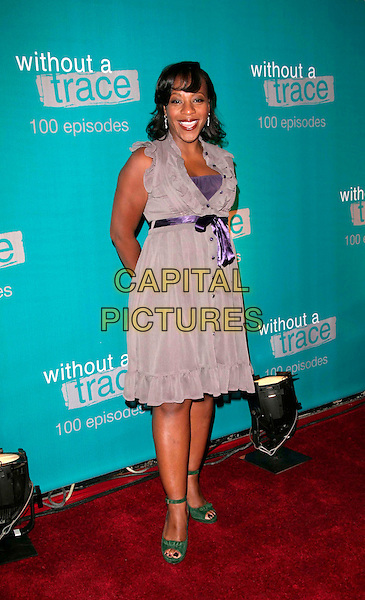 "MARIANNE JEAN-BAPTISTE.attend The ""Without A Trace"" 100th Episode celebration.at the Cabana Club in Hollywood, California, USA, September 9th 2006..full length grey purple lilac dress ribbon waist bow belt jean baptiste.Ref: DVS.www.capitalpictures.com.sales@capitalpictures.com.©Debbie VanStory/Capital Pictures"