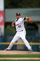 Rochester Red Wings pitcher Mark Hamburger (41) delivers a pitch during a game against the Pawtucket Red Sox on July 1, 2015 at Frontier Field in Rochester, New York.  Rochester defeated Pawtucket 8-4.  (Mike Janes/Four Seam Images)