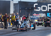 Jul 30, 2016; Sonoma, CA, USA; NHRA top fuel driver Scott Palmer during qualifying for the Sonoma Nationals at Sonoma Raceway. Mandatory Credit: Mark J. Rebilas-USA TODAY Sports