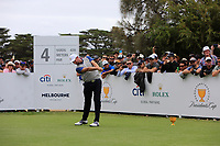 Webb Simpson (USA) on the 4th tee during the Second Round - Foursomes of the Presidents Cup 2019, Royal Melbourne Golf Club, Melbourne, Victoria, Australia. 13/12/2019.<br /> Picture Thos Caffrey / Golffile.ie<br /> <br /> All photo usage must carry mandatory copyright credit (© Golffile | Thos Caffrey)