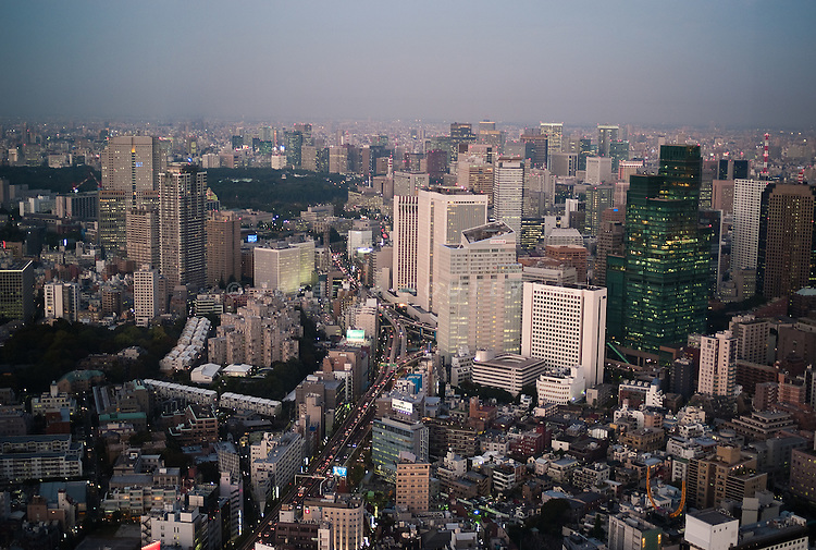 Tokyo - 19th of October 2009 - View over the financial district of Akasaka from the Mori tower, Roppongi Hills.