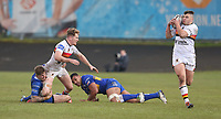Bradford Bulls's Rowan Milnes hands the ball off to team-mate Bradford Bulls's Matty Storton <br /> <br /> Photographer Stephen White/CameraSport<br /> <br /> Rugby League - Coral Challenge Cup Sixth Round - Bradford Bulls v Leeds Rhinos - Saturday 11th May 2019 - Provident Stadium - Bradford<br /> <br /> World Copyright &copy; 2019 CameraSport. All rights reserved. 43 Linden Ave. Countesthorpe. Leicester. England. LE8 5PG - Tel: +44 (0 116 277 4147 - admin@camerasport.com - www.camerasport.com