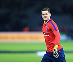 England's Tom Heaton warms up during the International Friendly match at Olympiastadion.  Photo credit should read: David Klein/Sportimage