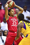 Washington, DC - August 17, 2018: Washington Mystics forward Monique Currie (25) looks to pass the ball during game between the Washington Mystics and Los Angeles Sparks at the Capital One Arena in Washington, DC. (Photo by Phil Peters/Media Images International)