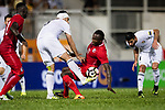 Ibrahim Zawahreh of Jordan (L) fights for the ball with Paul Olivier Ngue of Hong Kong (R) during the International Friendly match between Hong Kong and Jordan at Mongkok Stadium on June 7, 2017 in Hong Kong, China. Photo by Marcio Rodrigo Machado / Power Sport Images