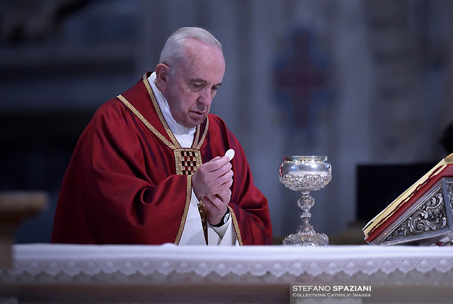 Pope Francis the ceremony of the Good Friday Passion of the Lord Mass in Saint Peter's Basilica at the Vatican.April 19, 2019