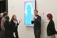Tour of the National Portrait Gallery, London lead by a female Guide but also with British Sign Language signer, Rob Skinner for any hearing impaired visitors.  By the computer generated image of architect, Zaha Hadid, by Michael Craig-Martin.