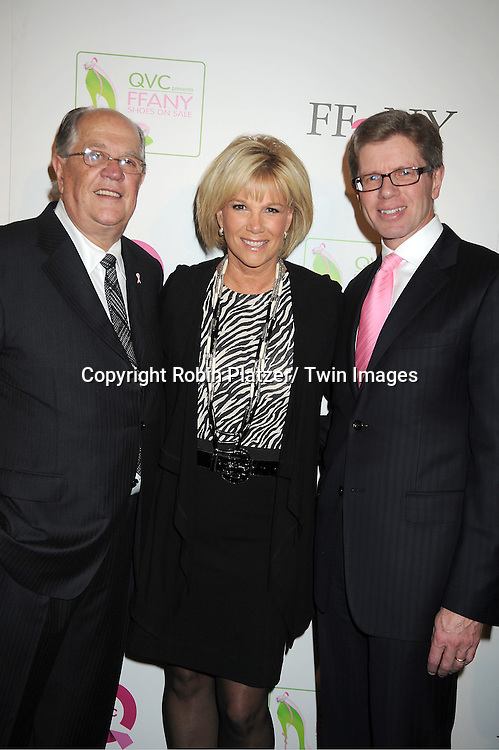 "Joseph Moore, Joan Lunden and Mike George attends the  2011 QVC Presents ""FFANY Shoes on Sale"" Gala on October 13, 2011 at The Waldorf=Astoria Hotel in New York City. The event benefits Breast Cancer Research."