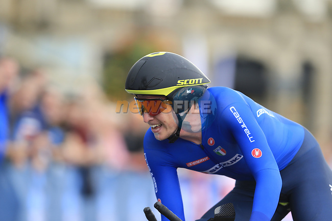 Edoardo Affini (ITA) in action during the Men Elite Individual Time Trial of the UCI World Championships 2019 running 54km from Northallerton to Harrogate, England. 25th September 2019.<br /> Picture: Eoin Clarke   Cyclefile<br /> <br /> All photos usage must carry mandatory copyright credit (© Cyclefile   Eoin Clarke)