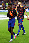 UEFA Champions League 2017/2018 - Matchday 1.<br /> FC Barcelona vs Juventus Football Club: 3-0.<br /> Ousmane Dembele &amp; Gerard Pique.