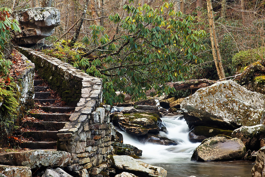 Stone trail and stairs beside Little Stony Creek on an overcast winter day, Cascade Falls, Pembroke, Giles County, Virginia, USA.