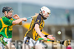 Coleman Savage Kilmoyley in action against Darragh O'Brien Abbeydorney in the Kerry County Senior Hurling Championship in Austin Stack Park Tralee on Sunday.