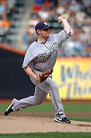 Milwakee Brewers pitcher Randy Wolf #43 during a game against the New York Mets at Citi Field on August 20, 2011 in Queens, NY.  Brewers defeated Mets 11-9.  Tomasso DeRosa/Four Seam Images