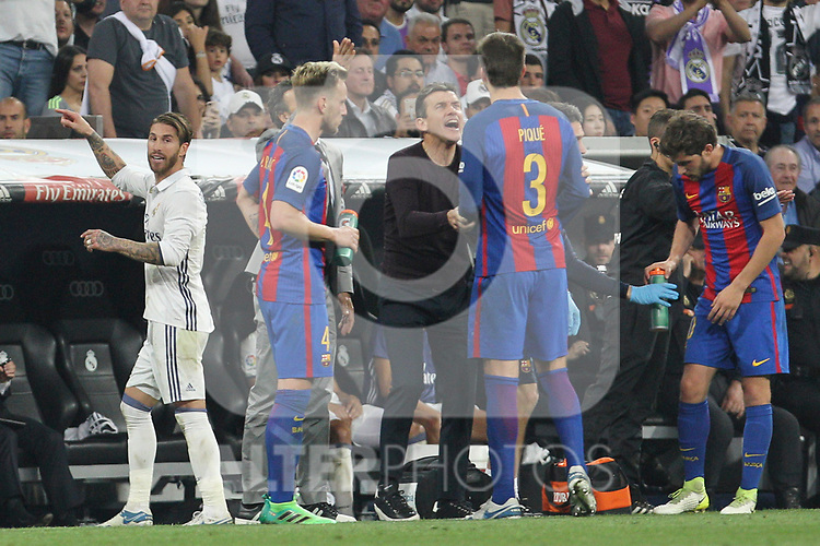 Sergio Ramos of Real Madrid reacts Gerard Pique of FC Barcelona during the match of La Liga between Real Madrid and Futbol Club Barcelona at Santiago Bernabeu Stadium  in Madrid, Spain. April 23, 2017. (ALTERPHOTOS)