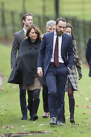 25 December 2016 - Carole Middleton, Michael Middleton, James Middleton, Pippa Middleton and James Matthews attend a morning Christmas Day service at St Mark's Church in Englefield, Berkshire. Photo Credit: Alpha Press/AdMedia