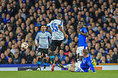 28th September 2017, Goodison Park, Liverpool, England; UEFA Europa League group stage, Everton versus Apollon Limassol; Wayne Rooney of Everton FC slides in and wins the ball off Alef of Apollon Limassol