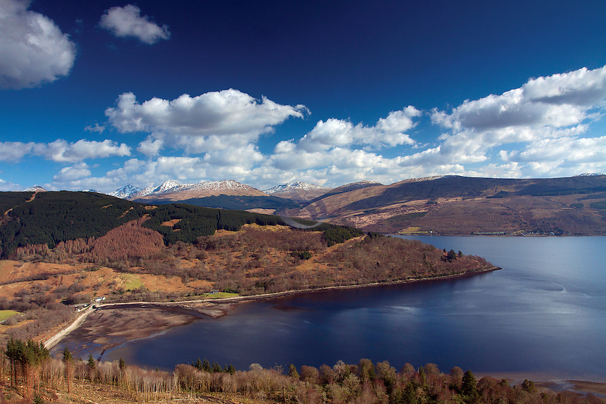 Loch Laich, Loch Fyne and the Arrochar Alps from Dun na Cuaiche, Inveraray, Argyll & Bute