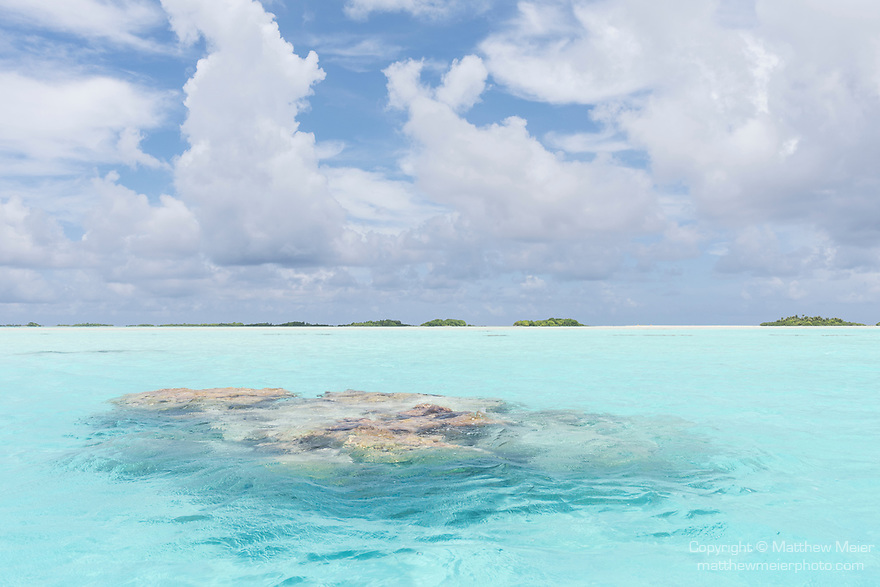 Blue Lagoon, Rangiroa Atoll, Tuamotu Archipelago, French Polynesia; a coral bommie in the shallow, turquoise waters of the blue lagoon