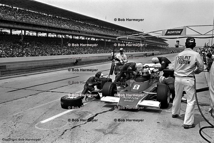 INDIANAPOLIS, IN: Fastest qualifier Tom Sneva makes a pit stop in his McLaren M24/Cosworth TC en route to a second place finish in the Indianapolis 500 on May 29, 1977, at the Indianapolis Motor Speedway.