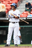 Buffalo Bisons shortstop Luis Figueroa #9 at bat during a game against the Charlotte Knights at Dunn Tire Park on May 22, 2011 in Buffalo, New York.  Buffalo defeated Charlotte by the score of 7-5.  Photo By Mike Janes/Four Seam Images