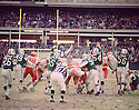 General view of the Kansas City Chiefs against the New York Jets on November 16,1969 at Shea Stadium in Flushing, New York.  The Kansas City Chiefs beat the New York Jets 34-16. (SportPics)
