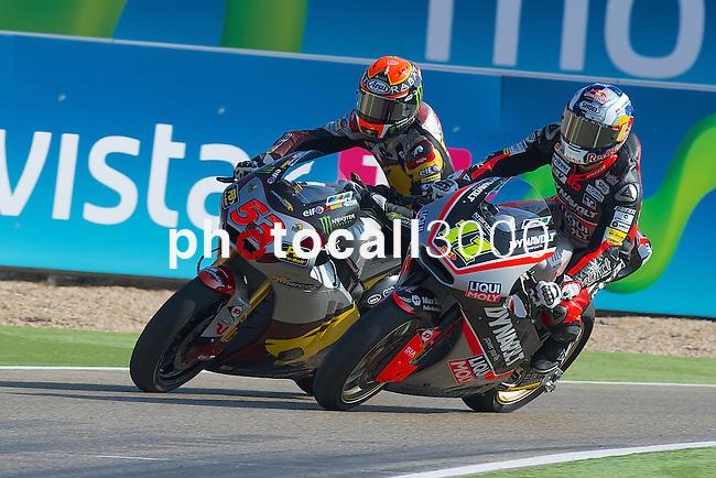 Gran Premio Movistar de Aragón<br /> during the moto world championship in Motorland Circuit, Aragón<br /> tito rabat<br /> sandro cortese<br /> PHOTOCALL3000