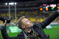 Ronan Keating throws a t-shirt into the crowd during the Super Rugby match between the Hurricanes and Chiefs at Westpac Stadium in Wellington, New Zealand on Friday, 9 June 2017. Photo: Dave Lintott / lintottphoto.co.nz