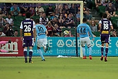 9th January 2018, nib Stadium, Perth, Australia; A League football, Perth Glory versus Melbourne City; Ross McCormack of Melbourne City sends Perth Glory goalkeeper Liam Reddy the wrong way and puts his penalty kick into the back of the net to give him his second goal for the first half and put Melbourne City ahead 2-0