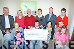 CHEQUE: On Good Friday in the Down Syndrome Offices in Moyderwell a cheque was presented to the Kerry Down Syndrome  of €5,045 by Joe and Mairéad O'Brien the monies were raise by holding events in Kerry. Front l-r: Siún,Mairead and Aoibhe O'Brien, Cathal Griffin, Aoife O'Connell,Risteard and Sophie Pierse. Back l-r: Joe O'Brien, Maria Carmody, Kevin Griffin,Ann Ladden Ronan Redican (Downsyndrome) and Simon Pierse.