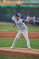 Ogden Raptors starting pitcher Edwin Uceta (15) delivers a pitch to the plate against the Orem Owlz at Home of the Owlz on September 11, 2017 in Orem, Utah. Ogden defeated Orem 7-3 to win the South Division Championship. (Stephen Smith/Four Seam Images)