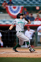 Daytona Tortugas center fielder TJ Friedl (6) follows through on a swing during a game against the Florida Fire Frogs on April 8, 2018 at Osceola County Stadium in Kissimmee, Florida.  Daytona defeated Florida 2-1.  (Mike Janes/Four Seam Images)