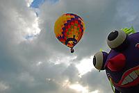 Hot air balloons eye each other