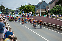 Early race, team Roompot Riders trying to force a break away. <br /> <br /> Binckbank Tour 2018 (UCI World Tour)<br /> Stage 6: Riemst (BE) - Sittard-Geleen (NL) 182,2km