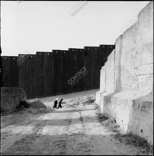 Security wall in At Tur.near Jerusalem, Israel, May 2004