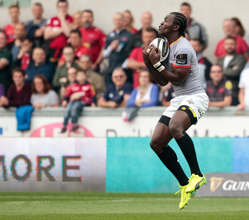 Southern Kings' Yaw Penxe claims the high ball<br /> <br /> Photographer Simon King/CameraSport<br /> <br /> Guinness Pro14 Round 1 - Scarlets v Southern Kings - Saturday 2nd September 2017 - Parc y Scarlets - Llanelli, Wales<br /> <br /> World Copyright &copy; 2017 CameraSport. All rights reserved. 43 Linden Ave. Countesthorpe. Leicester. England. LE8 5PG - Tel: +44 (0) 116 277 4147 - admin@camerasport.com - www.camerasport.com