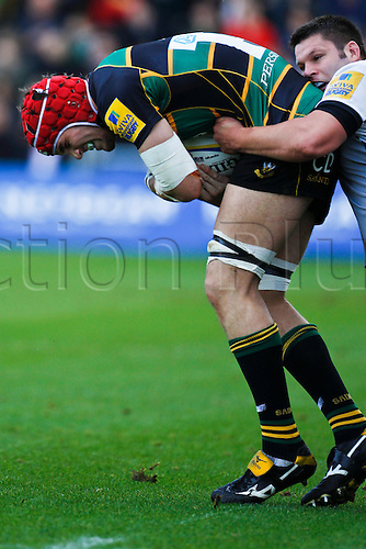30.10.2010 Aviva Premiership Rugby Northampton Saints v Newcastle Falcons.  Northamton's Christian Day covers the ball.