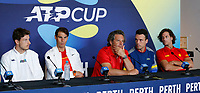 2nd January 2020; RAC Arena , Perth, Western Australia, Australia; ATP Cup Team Press conferences, Spain; Team Spain Carreno Busta, Rafael Nadal, Francisco Roig, Ramos-Vinolas and Feliciano Lopez at their press conferences before the start of the tournament - Editorial Use
