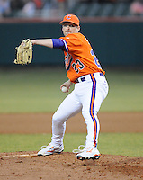 Pitcher Justin Sarratt of the Clemson Tigers in a game against the Eastern Michigan Eagles on Friday, Feb. 18, 2011, at Doug Kingsmore Stadium in Clemson, S.C. Photo by: Tom Priddy/Four Seam Images