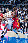 Real Madrid's player Felipe Reyes and UCAM Murcia's player Moreira during the third match of the Liga Endesa Playoff at Barclaycard Center in Madrid. May 31. 2016. (ALTERPHOTOS/Borja B.Hojas)