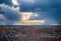 March 14, 2018: Late winter storm clouds brew over the western landscape of The Needles District, Canyonlands National Park, Utah.