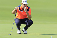 Bjorn Akesson (SWE) on the 14th green during Thursday's Round 1 of the 2016 Portugal Masters held at the Oceanico Victoria Golf Course, Vilamoura, Algarve, Portugal. 19th October 2016.<br /> Picture: Eoin Clarke | Golffile<br /> <br /> <br /> All photos usage must carry mandatory copyright credit (&copy; Golffile | Eoin Clarke)