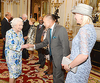 10 June 2016 - London, England - Prince Philip Duke of Edinburgh and Queen Elizabeth II shakes hands with Sir Jerry Mateparae of NewZealand, during a reception ahead of the Governor General's lunch at Buckingham Palace in London. Photo Credit: ALPR/AdMedia