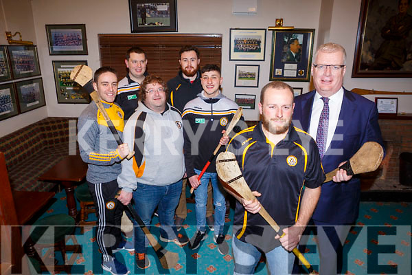 The Austin Stacks Hurling club members, who are launching a campaign to get more players involved and play the game. Launched their drive in the clubrooms in Connolly Park on Monday night last. In the fore ground, Tadgh Meehan and Austin Stacks chairman Liam Lynch. In the back standing l to r: Andrew Morrissey, Terry Desmond, Andrew Foley, Ger Scollard and Rob Byrne.