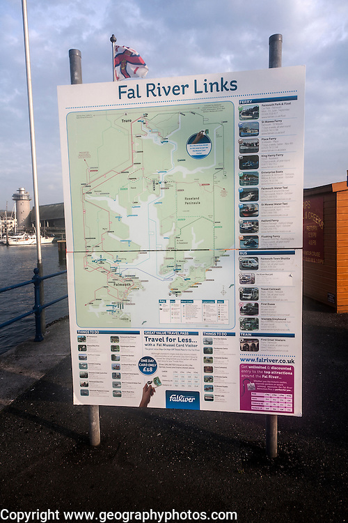 Map of River Fal transport links Prince of Wales pier, Falmouth, Cornwall, England, UK