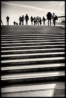 People walking over the bridge from Ferrovia train station to Piazzale Roma in Venice.